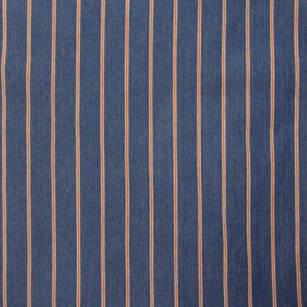 Jean's coton élasthane bleu rayé rouge et blanc
