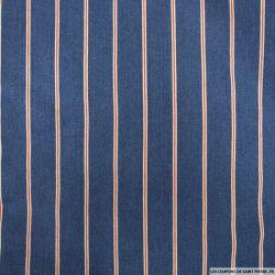 Jean's coton élasthane bleu grande rayure rouge et blanc