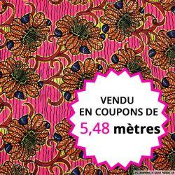 Wax africain floral fond fuchsia, vendu en coupon de 5,48 mètres