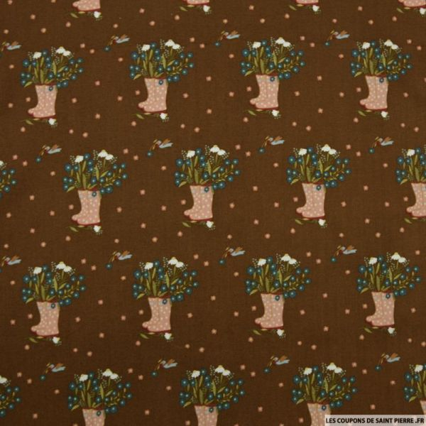 Coton imprimé jardinage fond marron