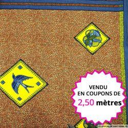 Wax africain vignette oiseaux fond orange, vendu en coupon de 2,50 mètres