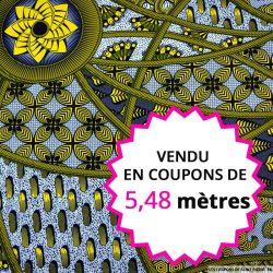 Wax africain graphique fantaisie jaune et bleu, vendu en coupon de 5,48 mètres