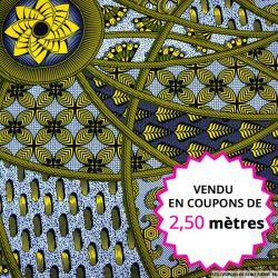 Wax africain graphique fantaisie jaune et bleu, vendu en coupon de 2,50 mètres