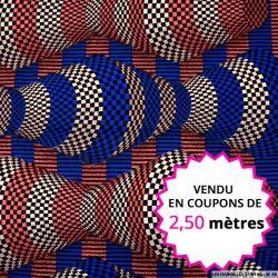Wax africain totem damier bleu et rose, vendu en coupon de 2,50 mètres