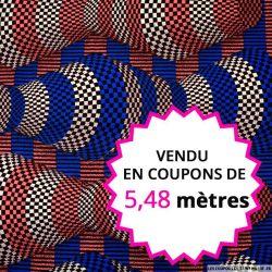 Wax africain totem damier bleu et rose, vendu en coupon de 5,48 mètres