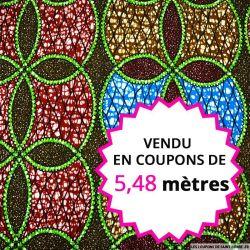 Wax africain rosace bleu et rouge, vendu en coupon de 5,48 mètres