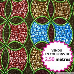 Wax africain rosace bleu et rouge, vendu en coupon de 2,50 mètres