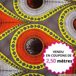 Wax africain météore orange et jaune, vendu en coupon de 2,50 mètres