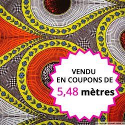 Wax africain météore orange et jaune, vendu en coupon de 5,48 mètres