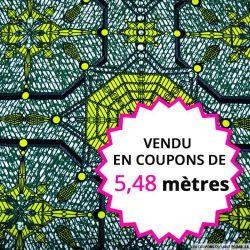 Wax africain cristaux vert, vendu en coupon de 5,48 mètres