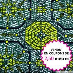 Wax africain cristaux vert, vendu en coupon de 2,50 mètres