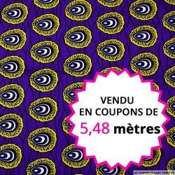 Wax africain coquillage jaune fond violet, vendu en coupon de 5,48 mètres