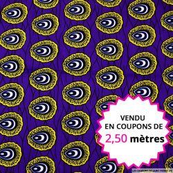 Wax africain coquillage jaune fond violet, vendu en coupon de 2,50 mètres