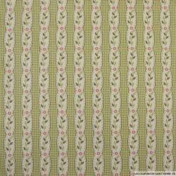 Coton Gütermann imprimé rayé fantaisie fleurs fond carreaux vert