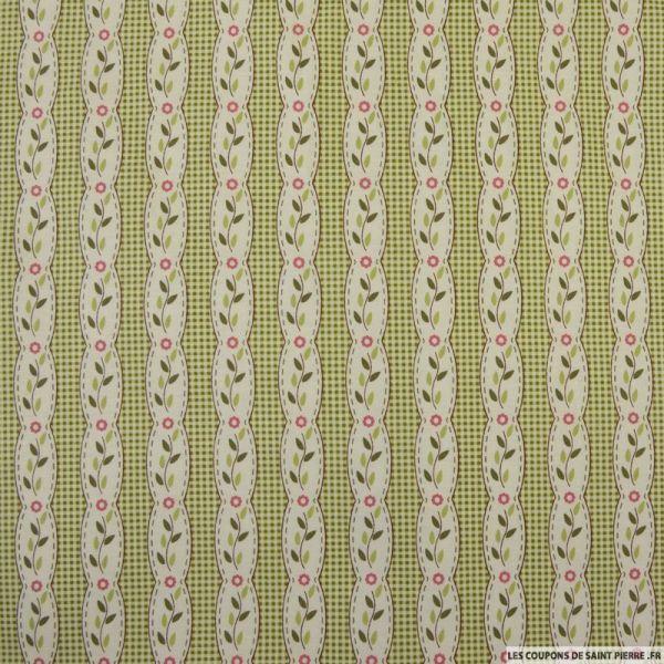 Coton imprimé rayé fantaisie fleurs fond carreaux vert