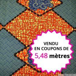 Wax africain losanges orange et bleu, vendu en coupon de 5,48 mètres