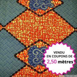 Wax africain losanges orange et bleu, vendu en coupon de 2,50 mètres