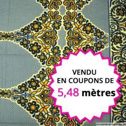 Wax africain hindou bleu et jaune, vendu en coupon de 5,48 mètres
