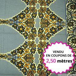 Wax africain hindou bleu et jaune, vendu en coupon de 2,50 mètres