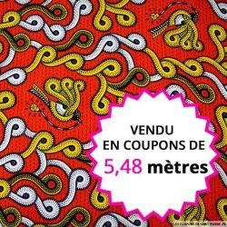 Wax africain pie voleuse rouge et jaune, vendu en coupon de 5,48 mètres