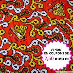 Wax africain pie voleuse rouge et jaune, vendu en coupon de 2,50 mètres