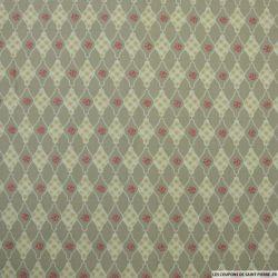 Coton imprimé damier fond vert de gris