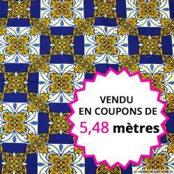 Wax africain azulejos bleu et jaune, vendu en coupon de 5,48 mètres