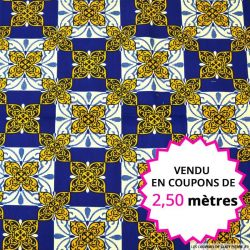 Wax africain azulejos bleu et jaune, vendu en coupon de 2,50 mètres