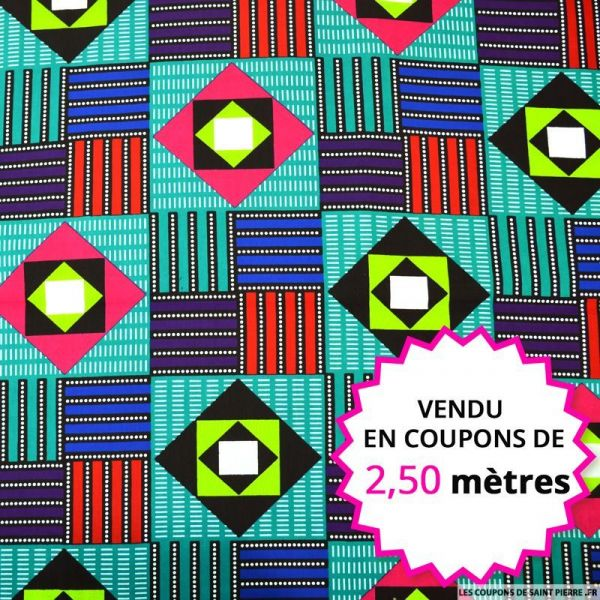 Wax africain memphis multicolore, vendu en coupon de 2,50 mètres