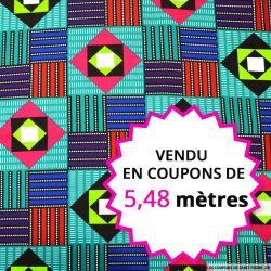 Wax africain memphis multicolore, vendu en coupon de 5,48 mètres