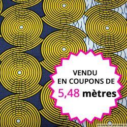 Wax africain spirale jaune, vendu en coupon de 5,48 mètres