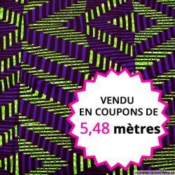 Wax africain rayures industrielles violet et vert, vendu en coupon de 5,48 mètres