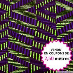 Wax africain rayures industrielles violet et vert, vendu en coupon de 2,50 mètres