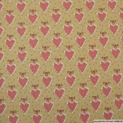 Coton imprimé coeur fond beige