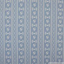 Coton imprimé frise fond bleu
