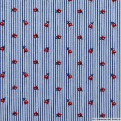 Coton chemise rayé bleu fleurs rouges