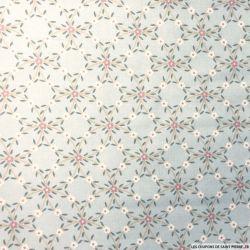 Coton imprimé rosace de fleurs fond ciel