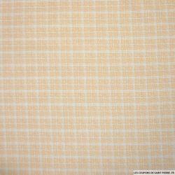 Coton imprimé à carreaux fantaisie fond blush