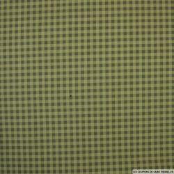 Coton imprimé à carreaux fond kaki