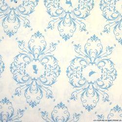 Coton imprimé animaux ciel fond blanc