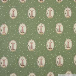 Coton imprimé dressing et parapluie à pois fond vert