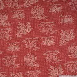 Coton imprimé crayonné chien fond terracotta