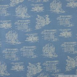 Coton imprimé crayonné chien fond bleu