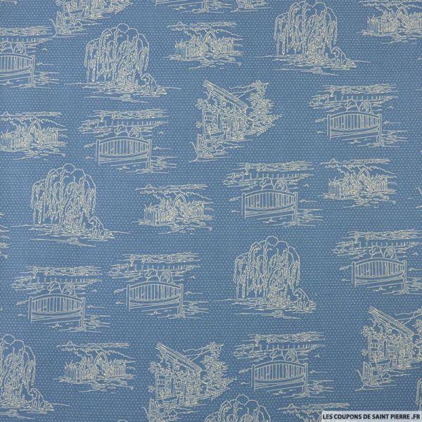 Coton imprimé crayoné chien fond bleu