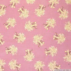Coton imprimé bouquet champêtre fond vieux rose
