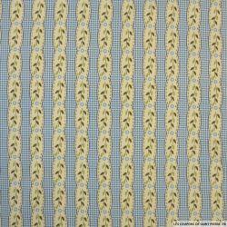 Coton imprimé rayé fantaisie fleurs fond carreaux bleu
