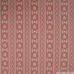 Coton imprimé provençale fond vieux rose