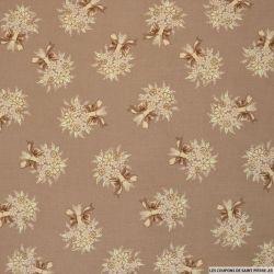 Coton imprimé bouquet champêtre fond marron