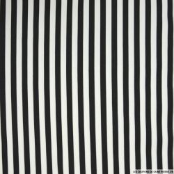 Gabardine de coton elasthane rayé 1cm noir