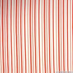 Gabardine de coton elasthane double rayures rouge
